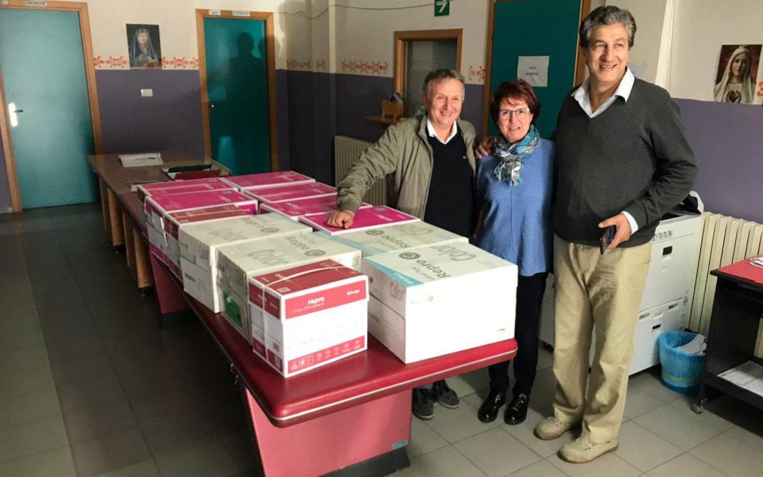Donazione di Grosso quantitativo di carta fotocopie per tutte le scuole di Alimena