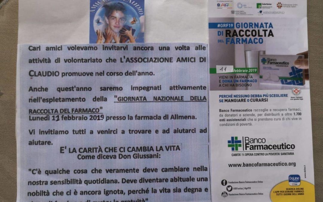 11 febbraio – L'Associazione Amici di Claudio raccoglie farmaci per i bisognosi.